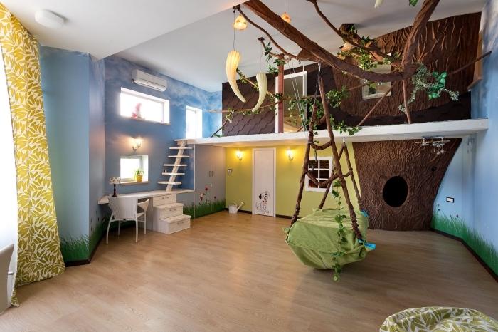 aménager une pièce sur le thème nature avec déco murale en dessin ciel et gazon avec pan de mur 3D arbre