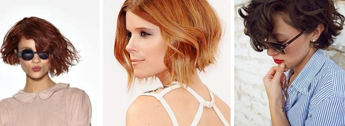 comment porter le carré court dégradé en boucles ou à effet wavy, coloration de cheveux rouge de nuance prune