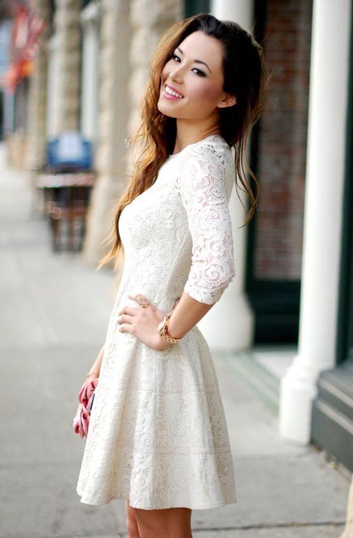 Tenue chic femme pour bapteme blanche robe de soirée courte en dentelle tendance 2018
