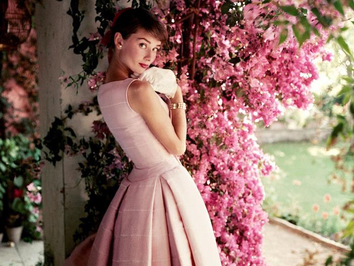 Vetement femme robe de soirée simple et chic robe habillée robe rose Audrey Hepburn