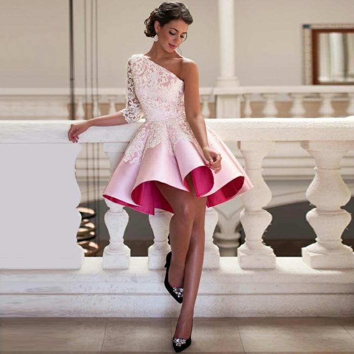 tenue de femme pour cocktail et mariage, robe cocktail mariage en deux nuances du rose