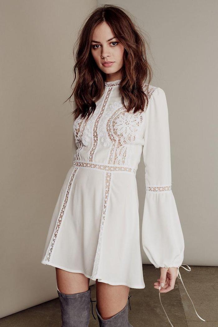 Vetement boheme romantique robe longue avec manche tenue d'été robe courte manche longue romantique tenue