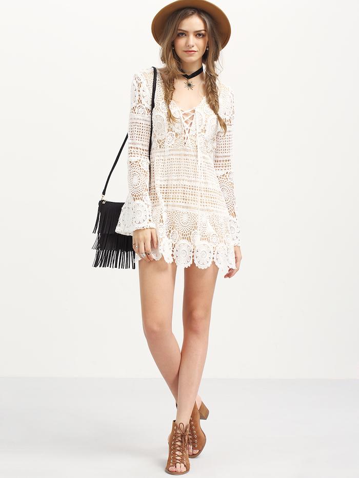 Tendances de mode printemps été idée tenue femme bohème chic vintage style