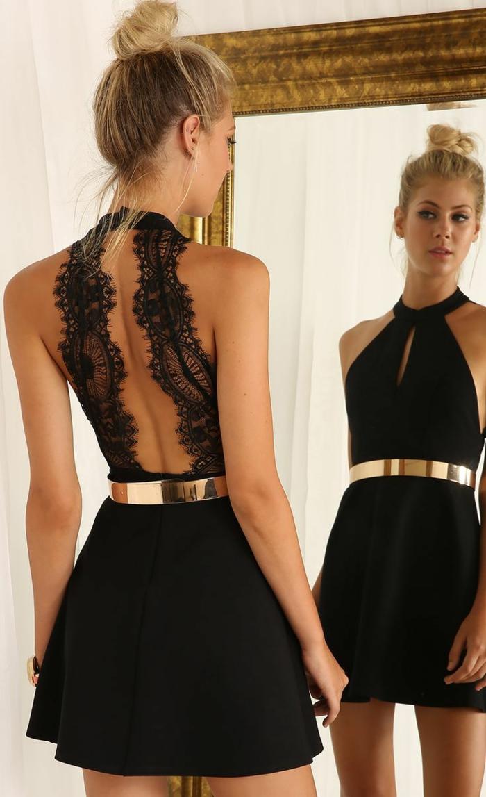 robe noire avec dos nu et ceinture dorée, robe pour événements spéciaux design élégant