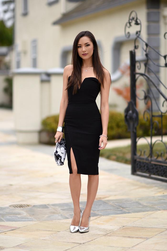 robe de cocktail pour mariage noire, robe fendue élégante, design de robe moulante