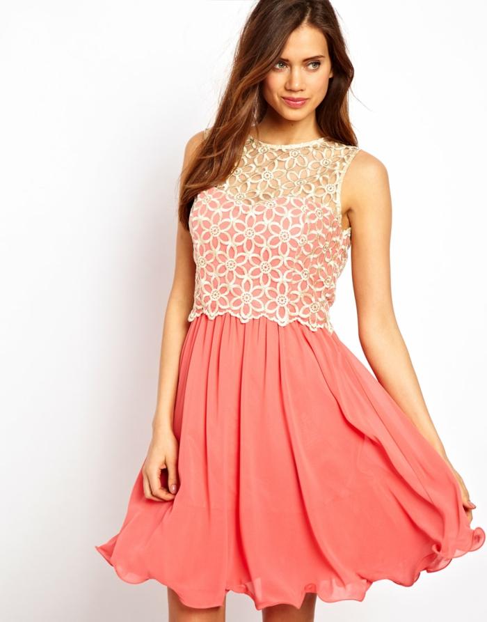 quelle robe de cocktail pas cher en rose et blanc, robe stylée et belle style romantique