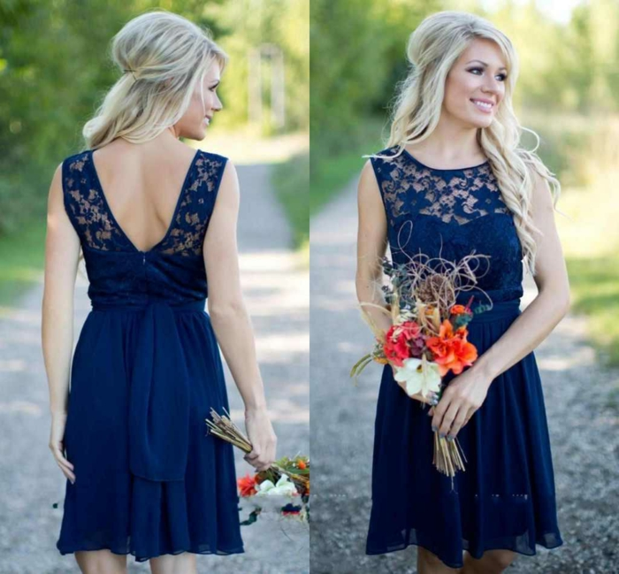 choisir une robe de cocktail pour mariage, robe de soirée dentelle, jupe corolle