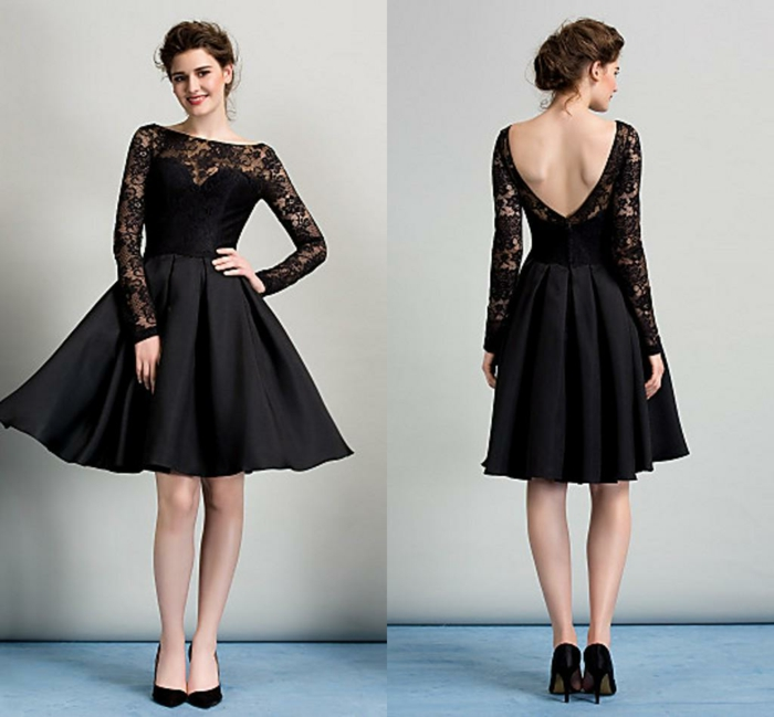 robe de soirée dentelle, décolleté et manches dentelle, jupe patineuse, escarpins noirs
