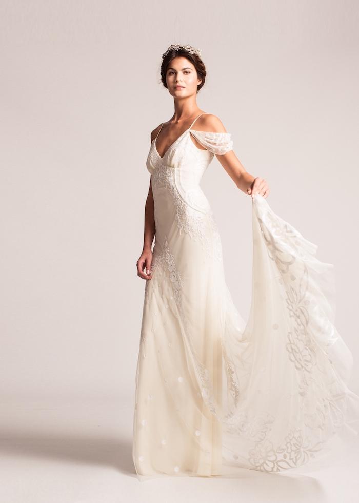 Femme beauté mariage robe de mariée simple et chic robe de marie dentelle robe de merveille blanche greque