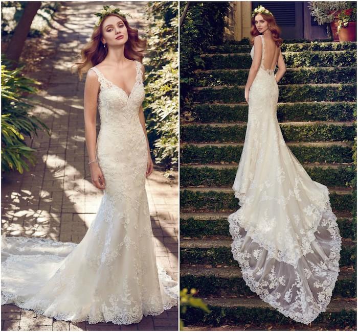 quelle robe de mariée champetre choisir, robe longue avec longue traine en dentelle et dos nu