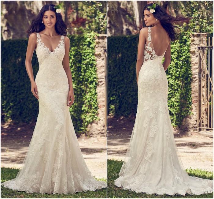 dentelle robe de mariée avec coupe fourreau et des bretelles transparentes aux fleurs brodées