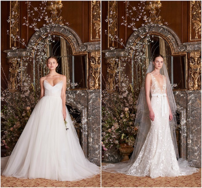 robe de mariée haute couture, modèle de robe blanche avec jupe en tulle et bustier avec décolleté asymétrique et robe de mariée à motifs floraux sur voile transparente