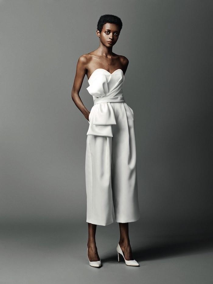 Choisir sa robe mariée ou choisir un salopette élégante blanche magnifique idée tenue de mariée élégante quelle est ma robe