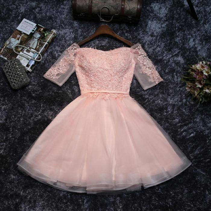 robe tutu rose, robe de soirée courte chic, manches courtes en tulle et dentelle