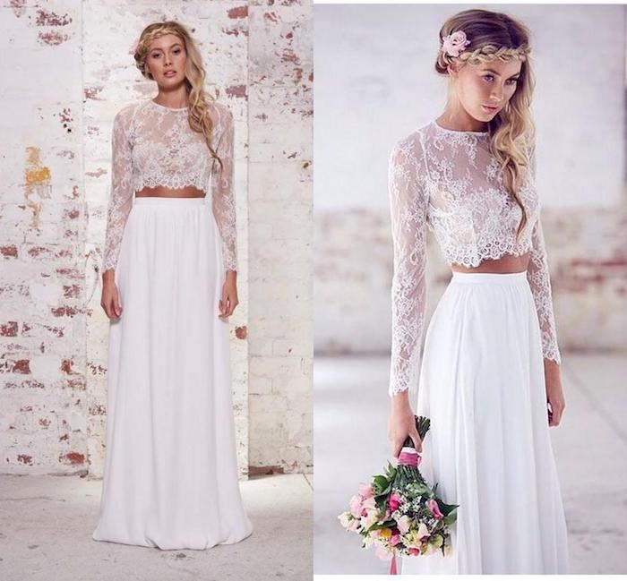 Cool idée robe dentelle blanche boheme robe bohème blanche chouette pour une robe de mariee boheme chic robe deux pieces jupe longue top en dentelle