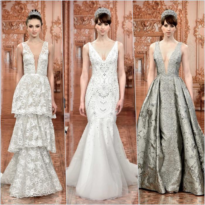 Les plus belles robes de mariée les meilleures robes de mariage femme stylée robe chic collage de trois différents options pour la robe de mariée chic