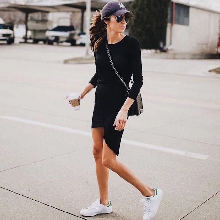 Chouette idée basket ville femme comment s habiller avec basket stylé porter robe noir courte avec manche longue