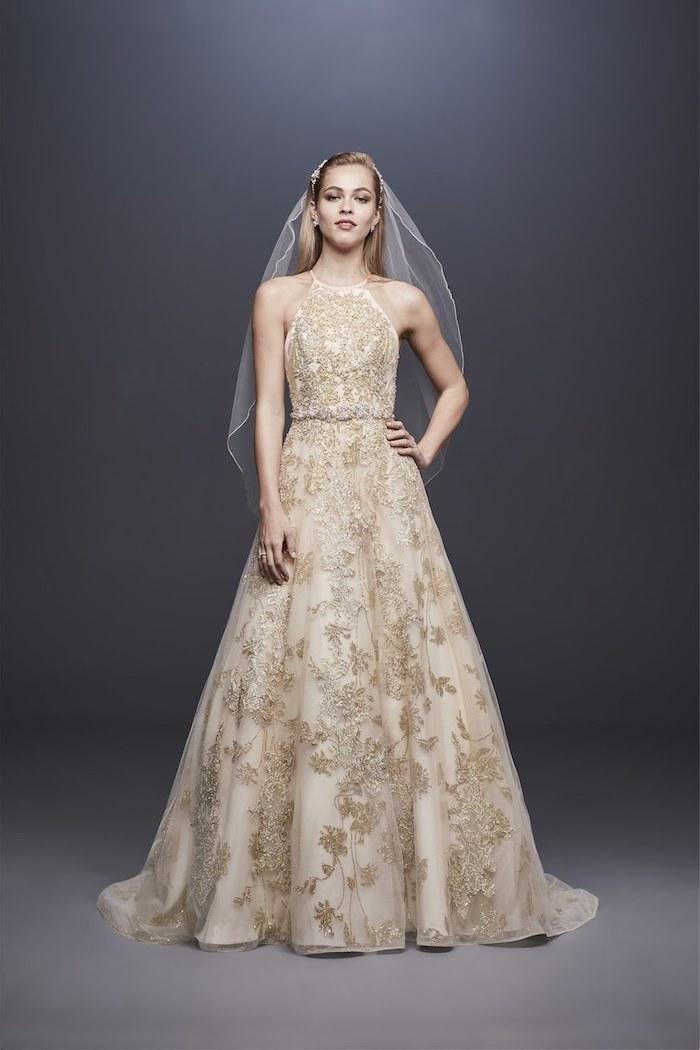 Robe de mariée 2018 robe dentelle mariage luxueuse robe de mariage magnifique coureur doré dentelle