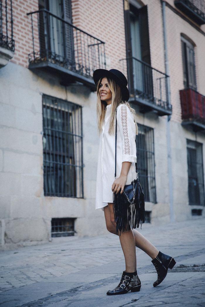 Magnifique robe fendue tenue boheme chic robe blanche dentelle boheme robe chemisier