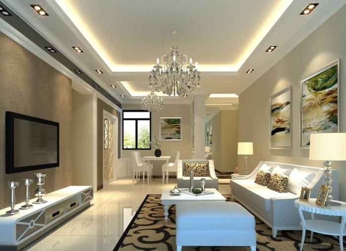 salon et salle de repas ensemble, plafond lumineux, plafonnier en cristal, meuble de tv blanc, meubles bas en style baroque