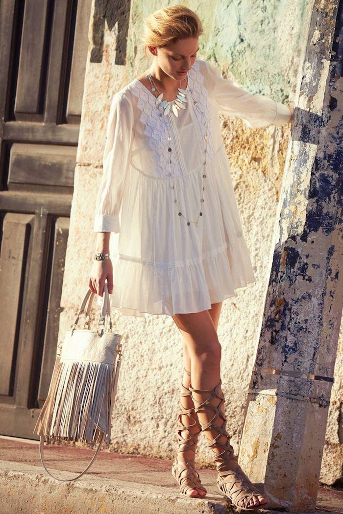 Belle robe blanche boheme robe champetre chic robe bohème blanche tenue bohème chic été robe blanche avec manche