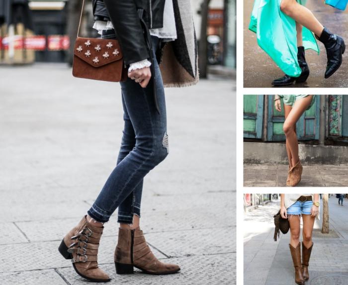 choisir son modèle chaussure a la mode, boots cowboys de couleur marron ou noir à combiner avec shorts ou jeans