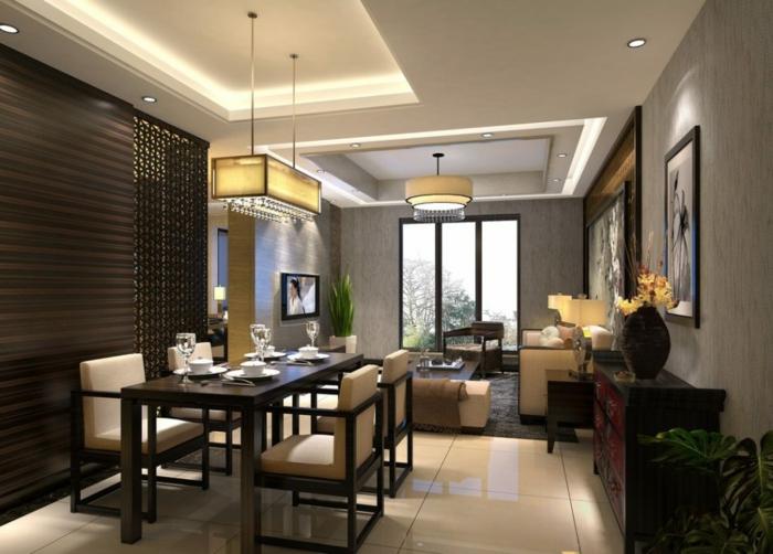 salon et salle à manger chic, couleur de peinture pour salon salle à manger gris, éclairage moderne sur le plafond