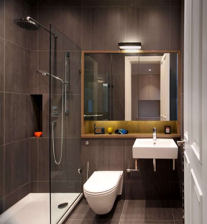 idée renovation salle de bain italienne petite surface avec mur en carrelage