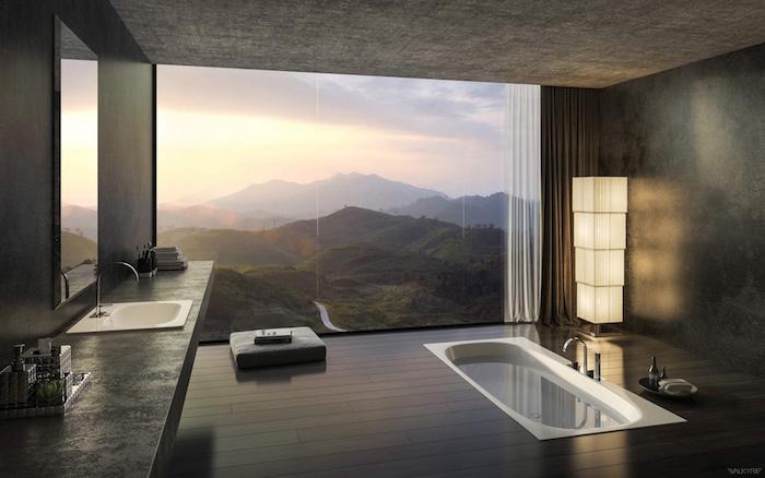 exemple de salle de bain de rêve luxueuse avec baie vitrée pour vue sur les montagnes