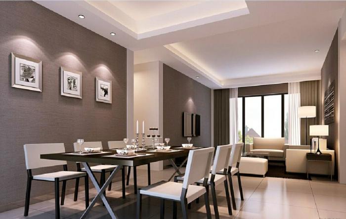 peinture salle à manger et peinture salon gris, grande table de déjeuner avec des chaises blanches, salon avec des meubles couleur crème