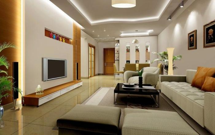 grand salon avec salle à manger, peinture tendance salon, canapé minimaliste, table basse, plafond lumineux