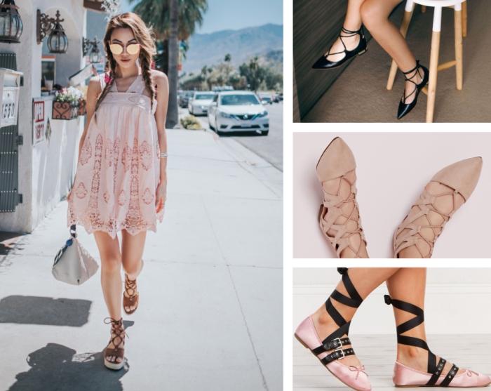 look boho avec robe courte en rose pâle aux motifs géométriques combinés avec sandales compensées en marron