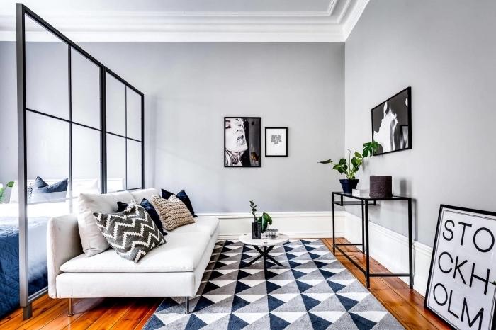 exemple aménagement studio étudiant avec séparation de pièce en vitrage, déco de salon aux murs gris avec meubles blanc et noir