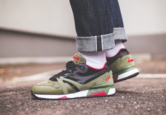 sneakers et chaussure a la mode homme diadora n 9000 vert kakki noir