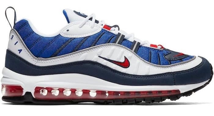 modele chaussure homme stylé sneakers air max 98 gundam anniversaire 20 ans bleu et blanc