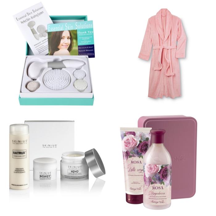 fete des meres cadeau à trouver, lot de produits cosmétiques et hydratantes pour soins visage et corps