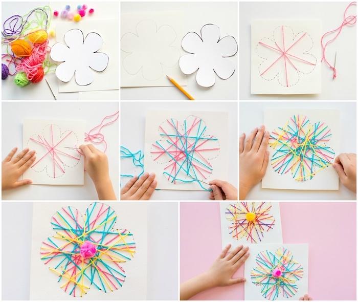 diy fete des meres, string art, fils tendus croisés sur un bout de papier blanc, bricolage simple et rapide