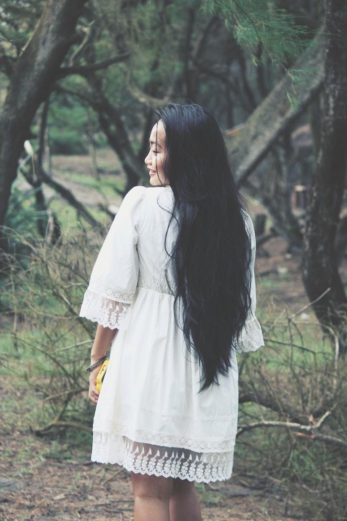 Longue robe d été robe blanche manche longue chic boheme vêtements bohème chic
