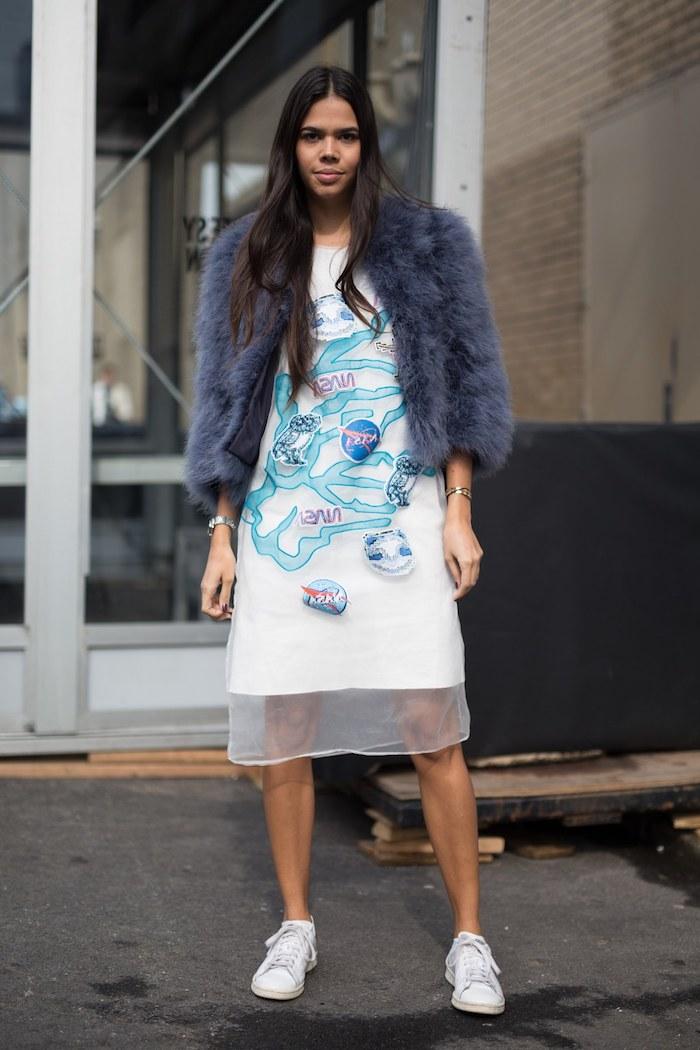 Swag fille baskets blanches femme comment s habiller pour la rentree robe chouette