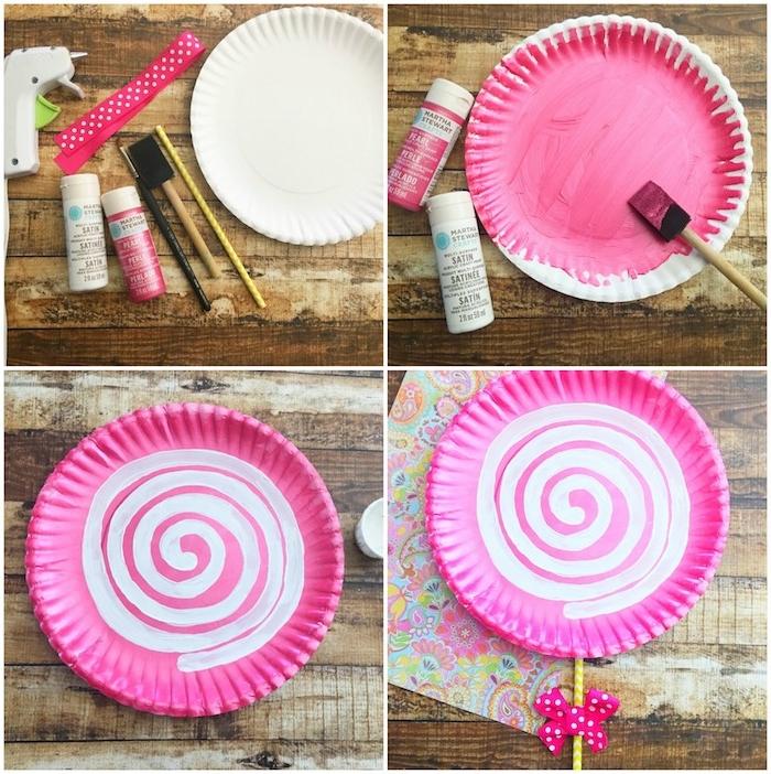activite fete des meres, assiette blanche repeinte en rose avec une spirale blanche avec une paille et ruban rose, sucette fleur en papier
