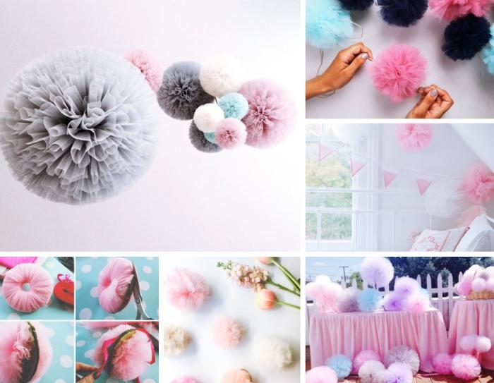 comment faire un pompon en papier de soie pour créer une guirlande décorative en couleurs pastel, déco chambre fille en rose et blanc