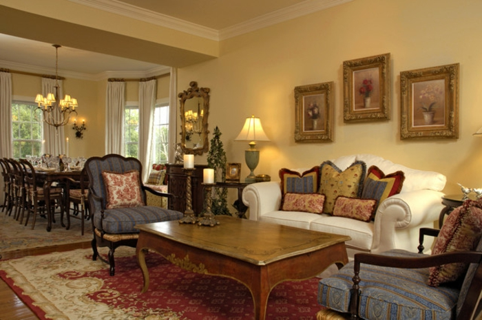 salon avec salle à manger, peinture tendance salon, table basse ancienne, fauteuils baroques, peintures aux encadrements dorés, tapis persan