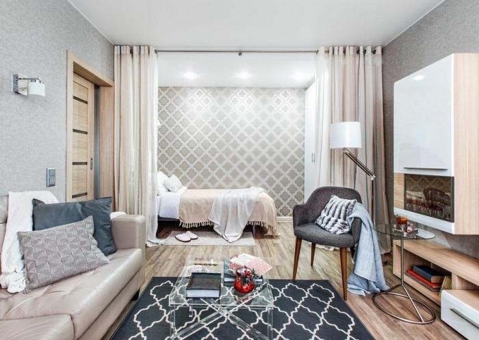 modèle de séparation de pièce avec rail de rideaux pour séparer la chambre à coucher du salon dans un studio