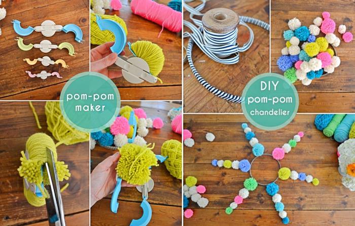 étapes à suivre pour réaliser des pompons en utilisant appareil à pompons de différentes tailles, faire un lustre de pompons
