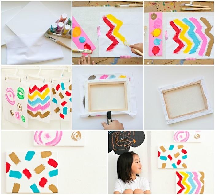 diy fete des meres a realiser soi meme, toile blanche avec peinture motifs colorés art abstrait enfant à accrocher sur un mur