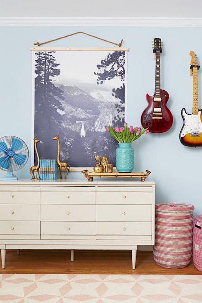 Chambre adulte complete pas cher lit commode intérieur moderne adulte cool avec guitares