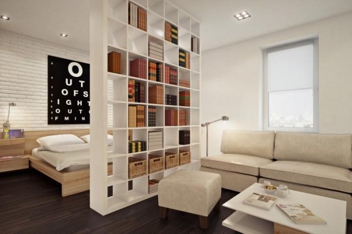 idée comment diviser la chambre à coucher du salon avec un meuble séparation en version bibliothèque blanche