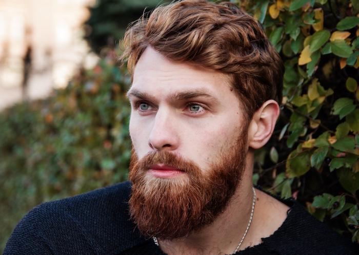 dégradé barbe rousse mi longue avec menton épais pour homme blond vénitien