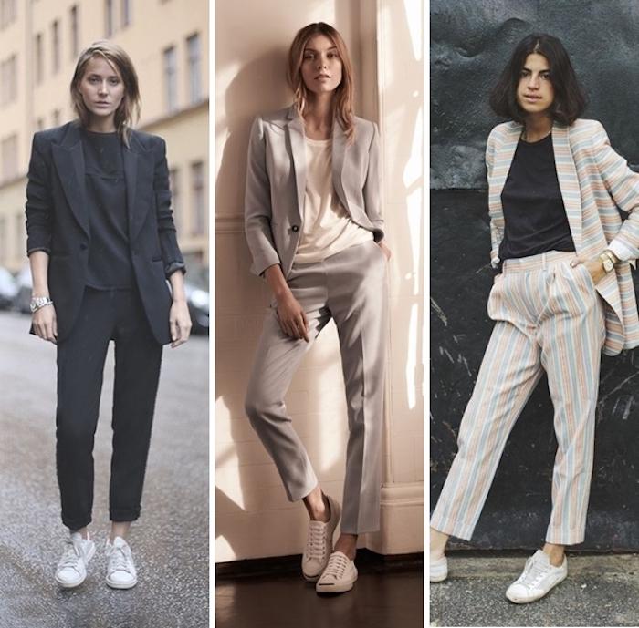 Look basket femme chaussures métallisées tenue jean quoi mettre avec baskets tailleur et basket idée comment les porter