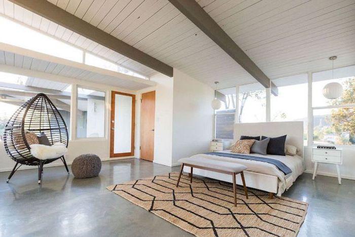 Lit moderne pas cher chambre complete pas cher moderne décoration cosy tapis geometrique